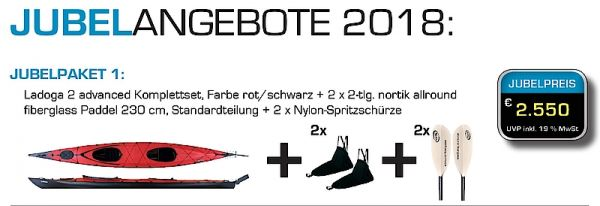 Triton Ladoga 2 advanced JUBELPAKET ROT/SCHWARZ 2X Schürze Nylon/2X 2tlg Paddel allr.fbx 230cm