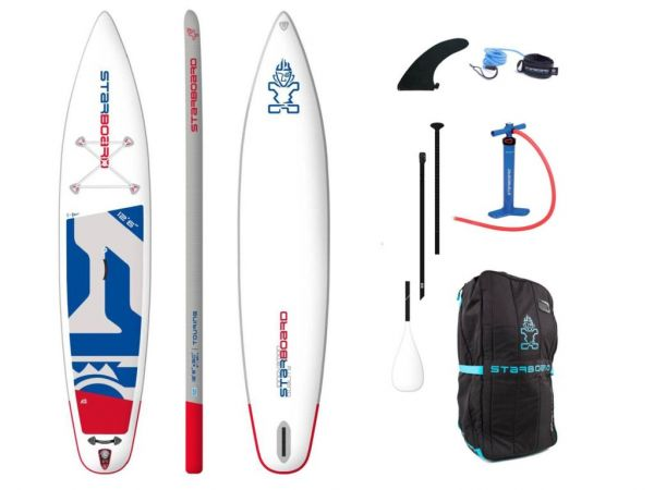 """Starboard 2020 Inflatable SUP 12'6"""" X 30"""" X 6"""" TOURING ZEN inkl. 3-pcs ABS/Fieberglas Paddel size M"""